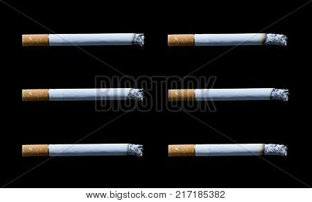 collection cigarette with ashes isolated on black background