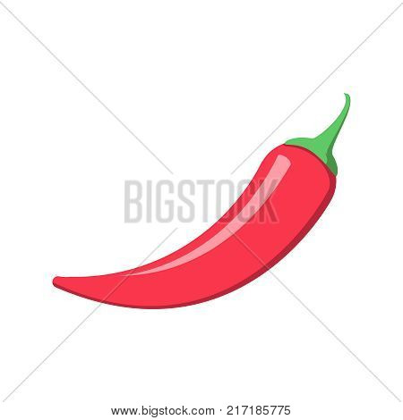 Extra spicy pepper vector icon illustration isolated on white background. Red hot natural chili pepper pod image vector illustration. Design for recipe web site decoration or cooking book.
