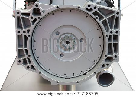 Back view of the new modern internal combustion engine of the truck