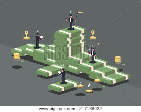 Pile of money. Businessman stands on stack of banknotes. Vector illustration
