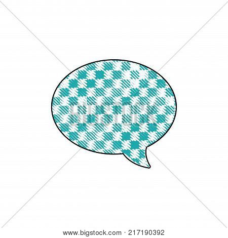 grated oval chat bubble text message style vector illustration