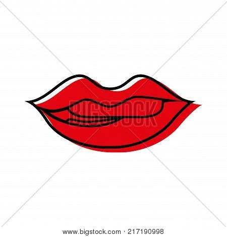 color mouth with lipstick and bite inferior lip vector illustration