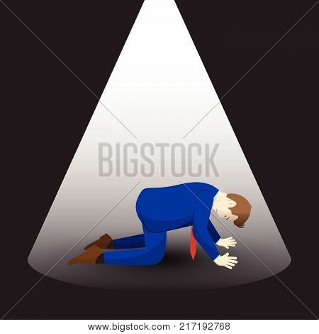 Vector Illustration Business Concept Designed As An Isolated Businessman Is Kneeling Under Spotlight. He Is Despairing To Isolation And Loss And Full Of Disappointment Depression And Discouragement.