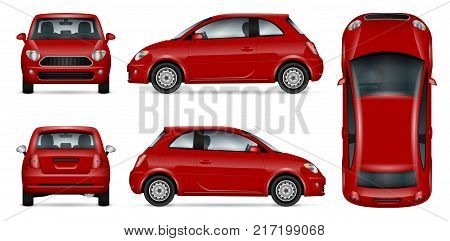 Red car vector mock-up for advertising corporate identity. Isolated mini car template on white. Vehicle branding mockup. All layers and groups well organized for easy editing and recolor. View from five sides.