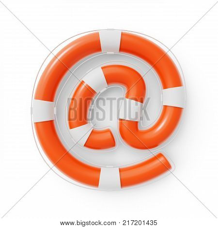 Email At Symbol formed as a Lifebuoy for online Help and Support. 3D illustration