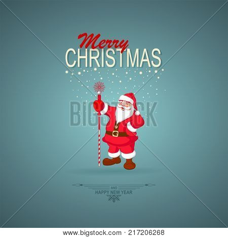 christmas turquoise background with silhouette of santa claus with staff