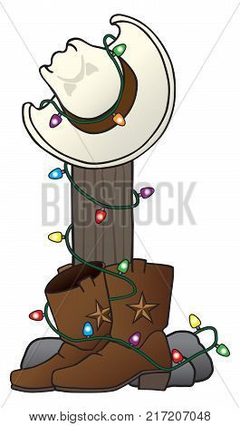 Cowboy hat and boots are decorated with a string of Christmas lights