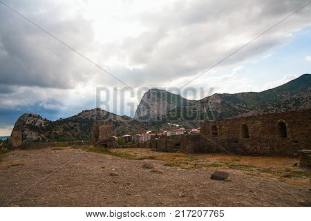 Genoese fortress. Ancient fortress in the mountains