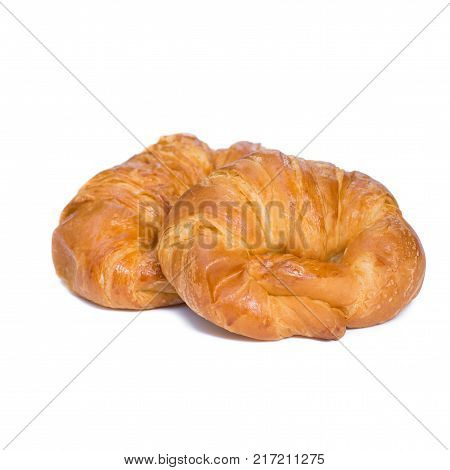fresh croissant  with powdered sugar isolated on white background