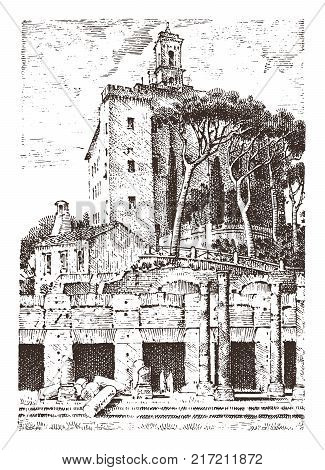 government building, ruins in Italy. Roman forum. capitol palace. ancient or antique architecture. engraved hand drawn in old sketch, vintage style for vacation tour