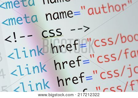 Real Html Code Developing Screen. Programing Workflow Abstract Algorithm Concept. Lines Of Html Code