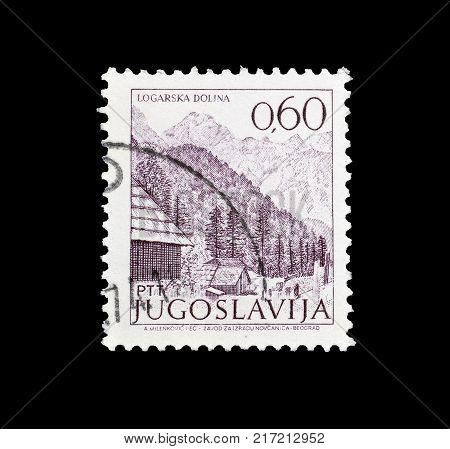 YUGOSLAVIA - CIRCA 1972 : Cancelled postage stamp printed by Yugoslavia, that shows Logarska dolina.