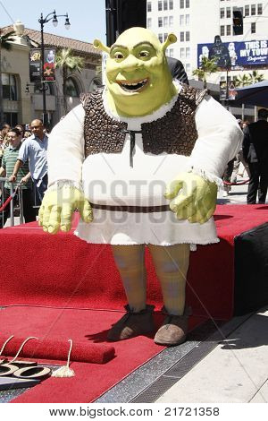 LOS ANGELES - MAY 20: Shrek at a ceremony where Shrek receives a star on the Hollywood Walk of Fame, Los Angeles, California on May 20, 2010