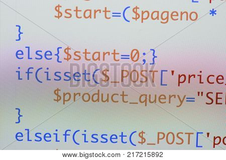 Real Php Code Developing Screen. Programing Workflow Abstract Algorithm Concept. Lines Of Php Code V
