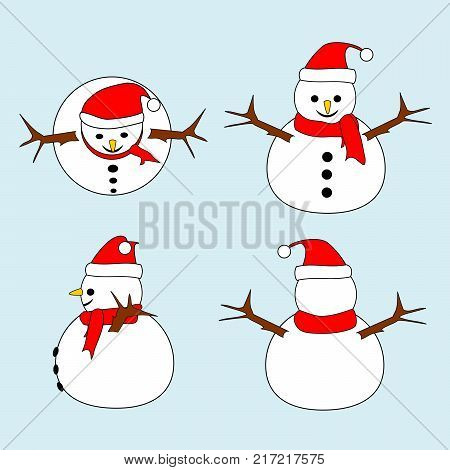 Set of Snowman with red hat and scarf in different views (top, front, side, back). Isolated on light blue background. Merry Christmas and happy new year concepts.