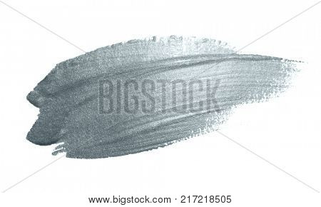 Silver paint brush stain or smudge stroke and abstract paintbrush glittering ink dab smear with glitter texture on white background. Isolated sparkling silver paint or ink paintbrush splash stain