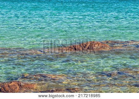 View of La Pelosa beach one of the most beautiful beaches in Sardinia Italy.