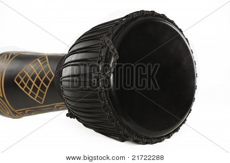 Black Djembe Drum Isolated On White