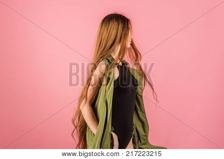 Girl with beautiful hair look. Beauty and fashion. Hairdresser salon and barber. Hair style and health. Woman with long healthy hair on pink background copy space