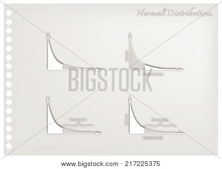 Business and Marketing Concepts, Illustration Paper Art Craft Set of Fat Tailed and Long Tailed Distributions Charts.