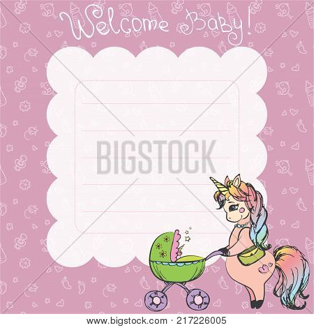 Newborn Background with place for text and unicorn with pram. Baby shower, greeting card.Stock vector illustration