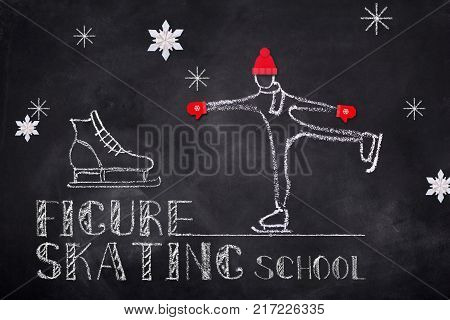 Ice figure skating school sketch chalk text and figure skater on black board background