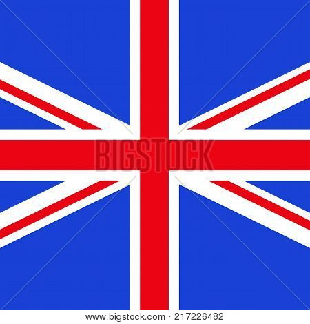 Square vector flag of Great Britain. State symbol of United Kingdom. Objects isolated on white background.