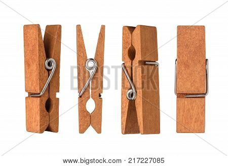 Set of wooden cloth pegs isolated on white background