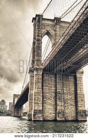 HDR view of Brooklyn Bridge from Manhattan.