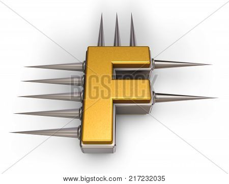letter f with metal prickles on white background - 3d illustration