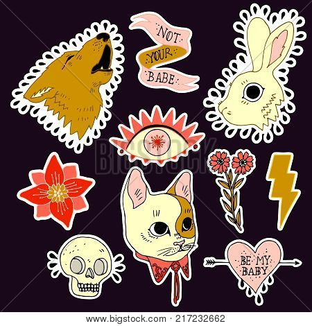 Set of stickers, pins, patches and handwritten notes collection in cartoon. Wolf, rabbit, cat, heart, flower and eye. Be my babe. Not your babe. Print on tshirts and other materials.