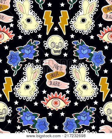Seamless pattern. Rabbit, skull, eye, rose and ribbon. Not your babe. Print on tshirts and other materials. Set of stickers, pins, patches and handwritten notes collection in cartoon.
