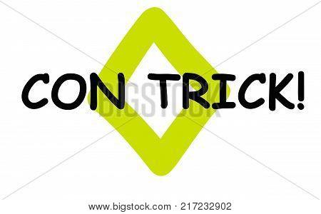 Con Trick . Typographic stamp visualisation concept Original series.