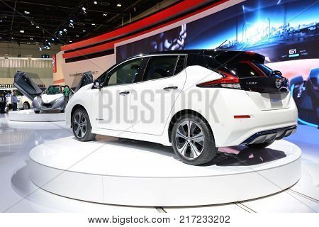 DUBAI UAE - NOVEMBER 18: The all new Nissan 2018 Leaf electric car is on Dubai Motor Show 2017 on November 18 2017