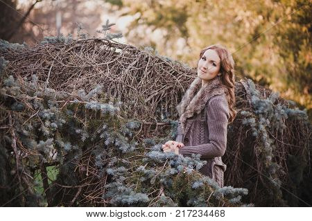 Beautiful Genuine Lady Mystic With Curly Brunette Hairs And Adorable Eyes Dressed In Fancy Stylish W
