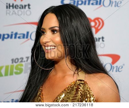 LOS ANGELES - DEC 2:  Demi Lovato at the Jingle Ball 2017 at the Forum on December 2, 2017 in Inglewood, CA