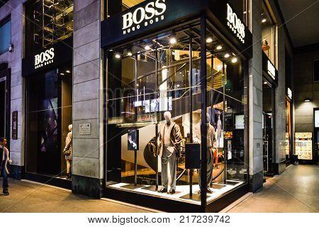 Milan, Italy - September 24, 2017:  Hugo Boss Store In Milan. Fashion Week Shopping