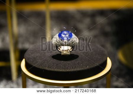 Milan, Italy - September 24, 2017:  Cartier's Jewels In A Shop In Milan