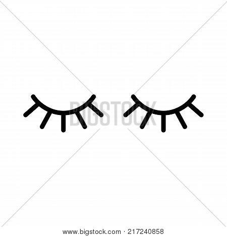 Vector Eyelashes. Closed Eyes. Vector Icon.