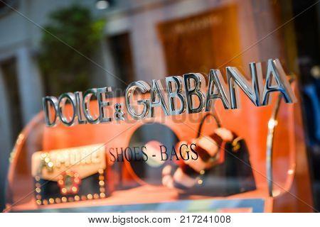 Milan, Italy - September 24, 2017:  Dolce Gabbana Store In Milan. Fashion Week Dolce Gabbana Shoppin