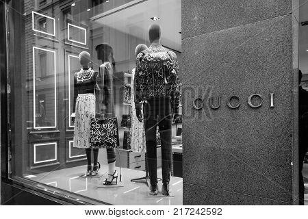 Milan, Italy - October 9, 2016: Shop Window And Entrance Of A Gucci Shop In Milan - Montenapoleone S