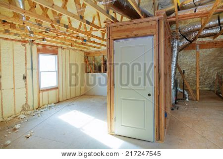 thermal and hidro insulation Inside wall insulation Interior view construction new residential home.