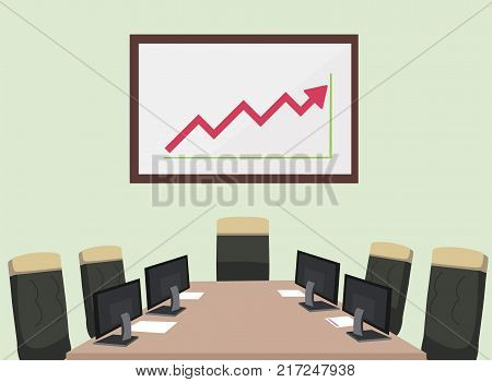 Meeting room with computer paper chair and static graph board.Vector illustration.Business room for meeting.