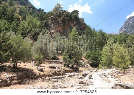 Walls and ruins in abandoned village in Samaria Gorge on Crete