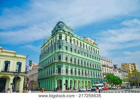 HAVANA, CUBA - FEB 16, 2017: View of the restored luxury Saratoga Hotel built in 1879, an excellent example of colonial architecture in the La Habana Vieja neighborhood.