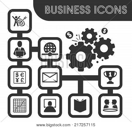 Business outline icons set and symbols for web user interface