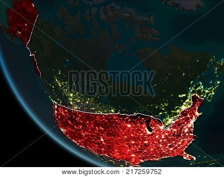 Satellite View Of Usa At Night