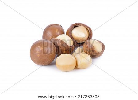 dried macadamia nut with shell on white background