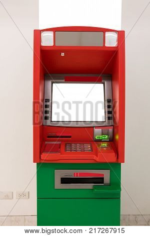 ATM machine. The station automatic machines in red and green colors