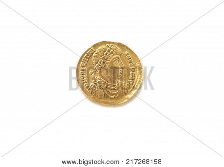 Valentiniano Golden Solid coin. Year 375 A.C. Isolated over white background